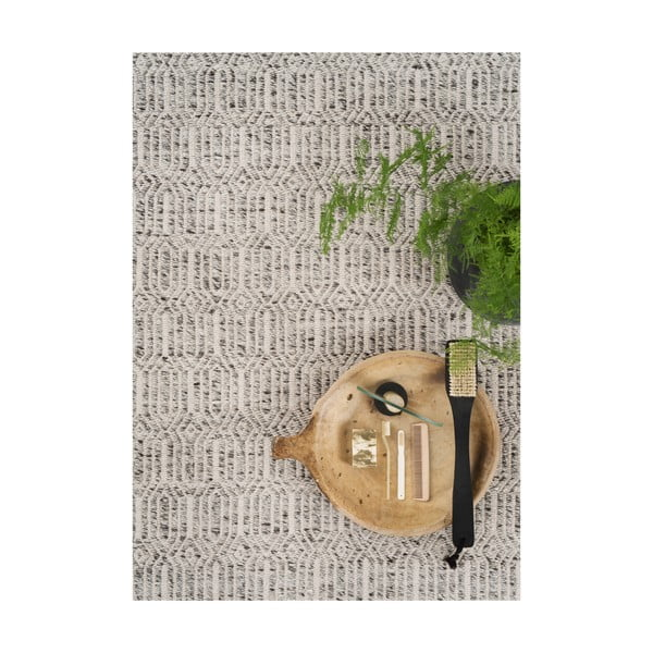 Szary dywan z dodatkiem wełny Justin, 140x200 cm