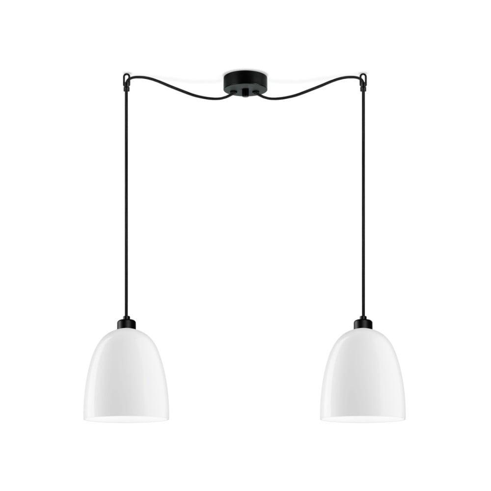 Biała podwójna lampa wisząca z połyskiem z czarnym kablem Sotto Luce Awa
