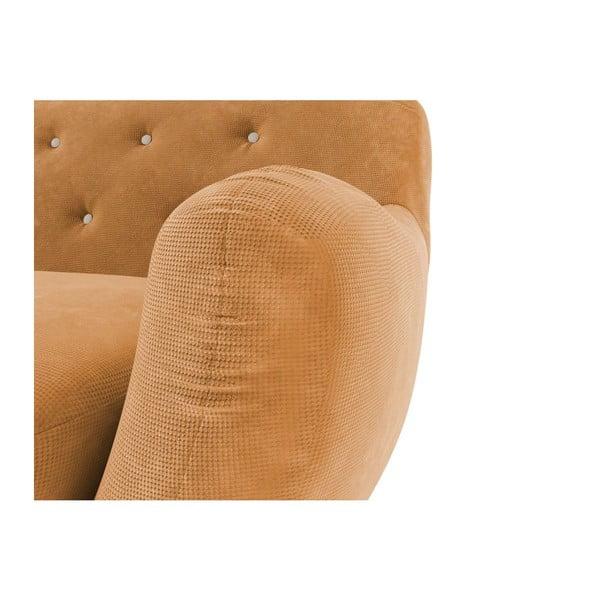 Żółta   sofa trzyosobowa z jasnobeżowymi guzikami Wintech Zefir Sun