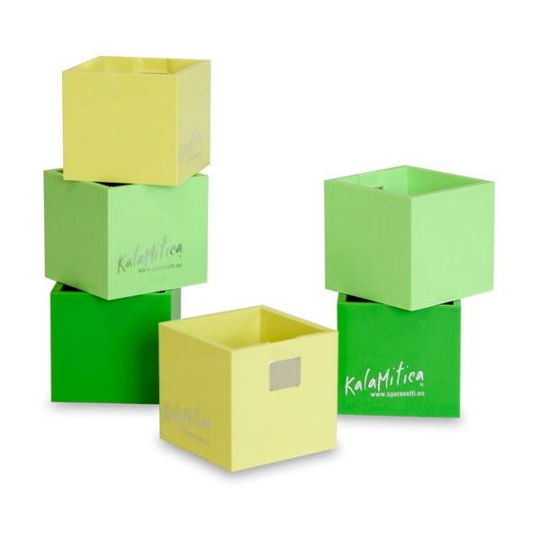 Zestaw 6 magnetycznych doniczek Cube Green, mały