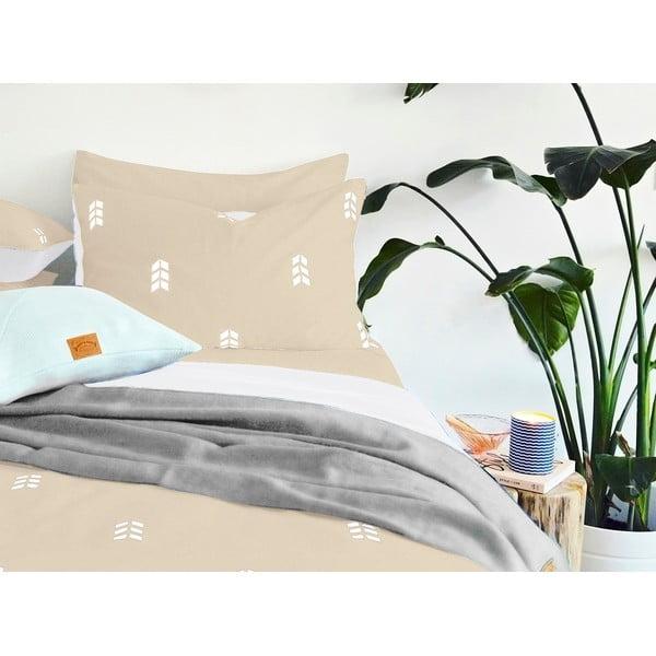 Beżowa pościel Hawke&Thorn Finch Straw, 240x220 cm + poduszka 50 x 60 cm