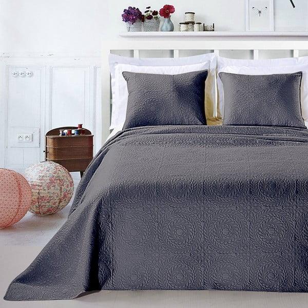 Szara narzuta z poszewkami na poduszkę z mikrowłókna DecoKing Elodie, 240x260 cm