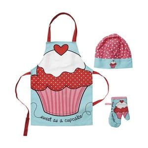 Zestaw dziecięcy: fartuch, czepek i rękawica Ladelle Cupcake