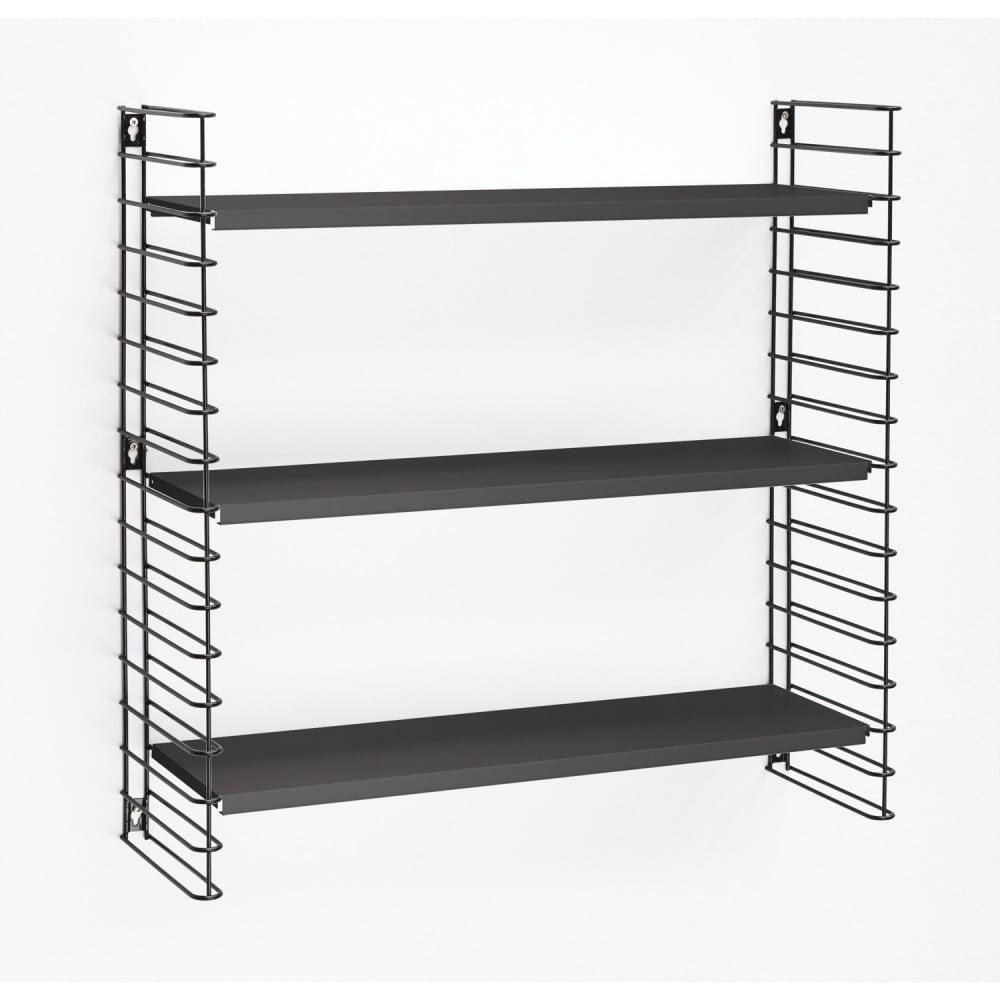 3-poziomowy regał z czarnymi półkami Metaltex Libro, szer. 70 cm