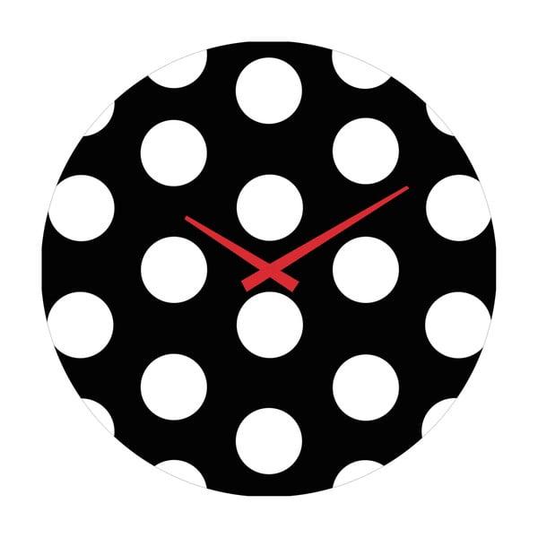 Szklany zegar Kropki, 30 cm