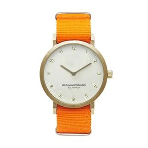 Zegarek unisex z pomarańczowym paskiem South Lane Stockholm Sodermalm Gold Big
