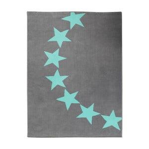 Dywan City & Mix - szary w niebieskie gwiazdy, 140x200 cm