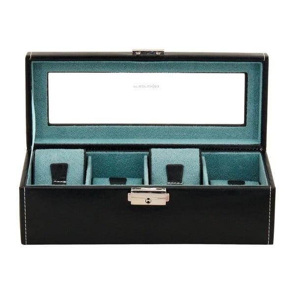 Czarny kuferek na 4 zegarki Friedrich Lederwaren Bond