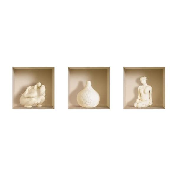 Naklejki na ścianę 3D Sculptures, 3 szt.