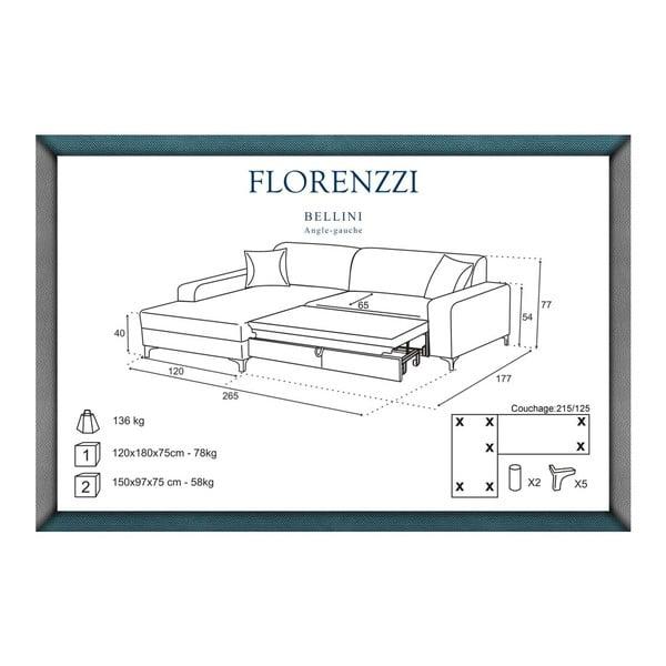 Narożnik rozkładany lewostronny Florenzzi Bellini Black/Anthracite