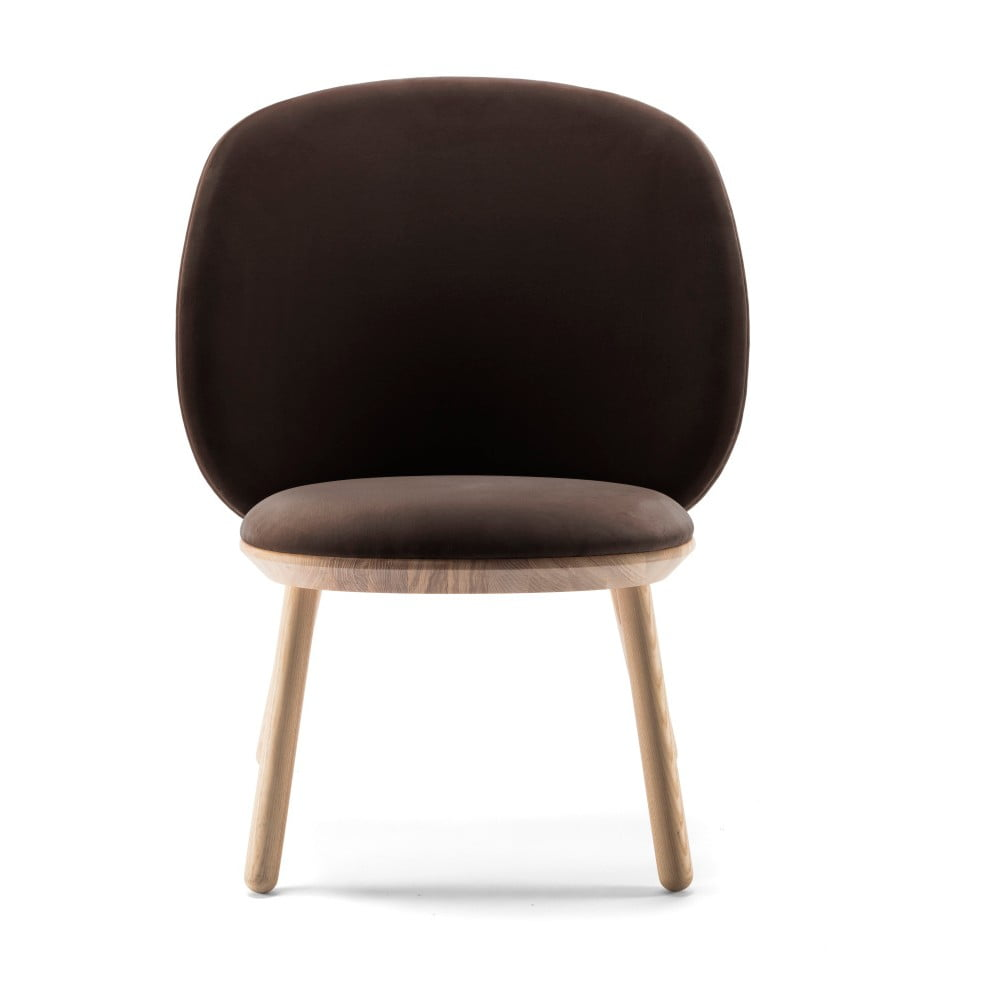 Ciemnobrązowy aksamitny fotel z jesionu z elementami skórzanymi EMKO Naïve
