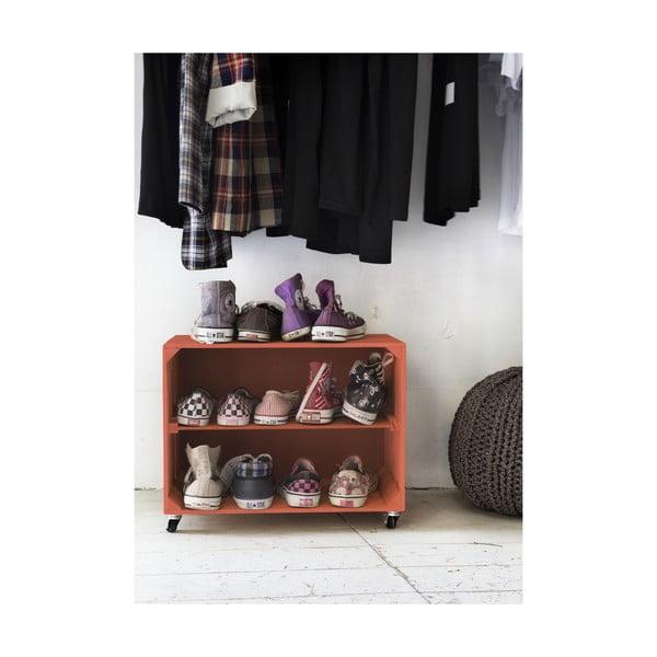 Rustykalna, drewniana szafka na buty Really Nice Things Shoe, koralowa