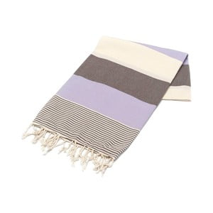Fioletowo-brązowy ręcznik Hammam Amerikan, 100x180cm