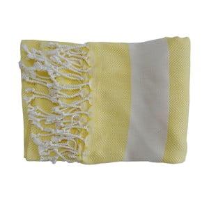 Żółty ręcznie tkany ręcznik z bawełny premium Lidya,100x180 cm
