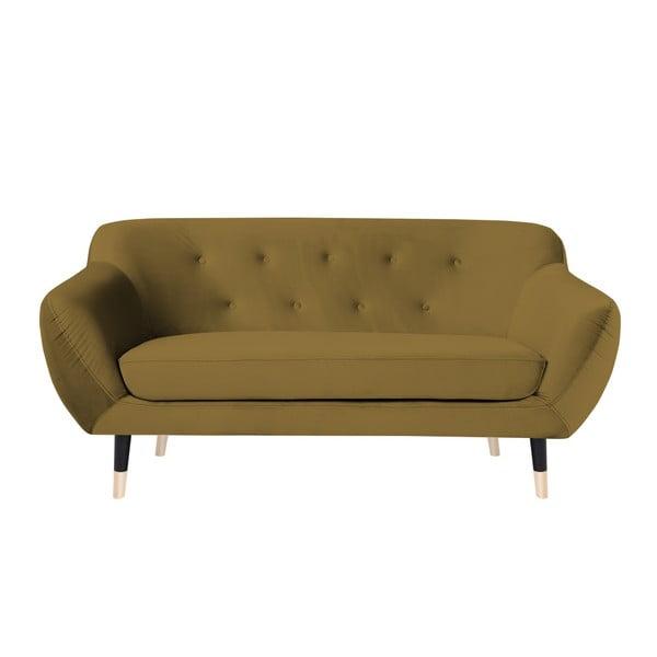 Musztardowa sofa 2-osobowa z czarnymi nogami Mazzini Sofas Amelie