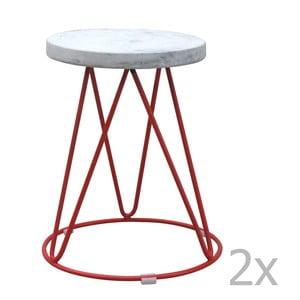 Zestaw 2 stołków z betonowym siedziskiem Red Cartel District Rouge