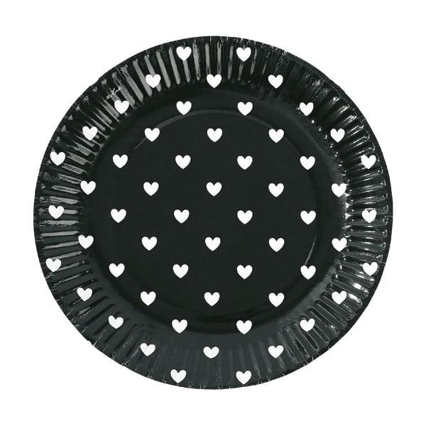 Komplet papierowych talerzy Black Hearts, 8 szt.