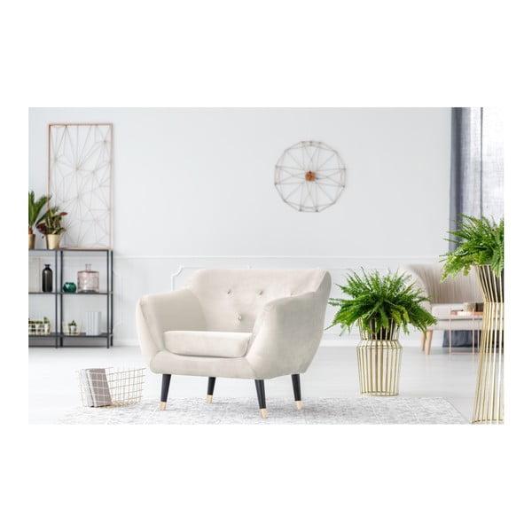 Kremowy fotel z czarnymi nogami Mazzini Sofas Amelie