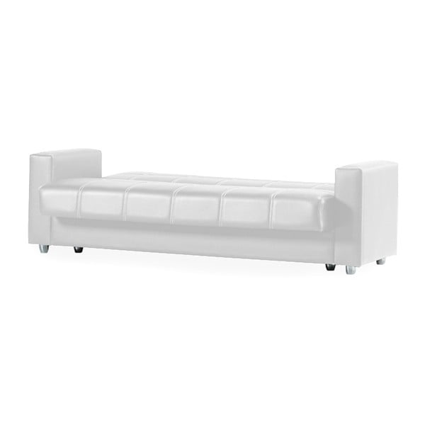 Biała trzyosobowa sofa rozkładana ze schowkiem Esidra Soft