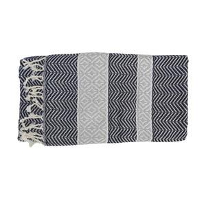 Szary ręcznik kąpielowy tkany ręcznie z wysokiej jakości bawełny Homemania Basak Hammam,100x180 cm
