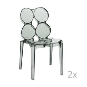 Zestaw 2 szarych krzeseł przeźroczystych J-Line Circles