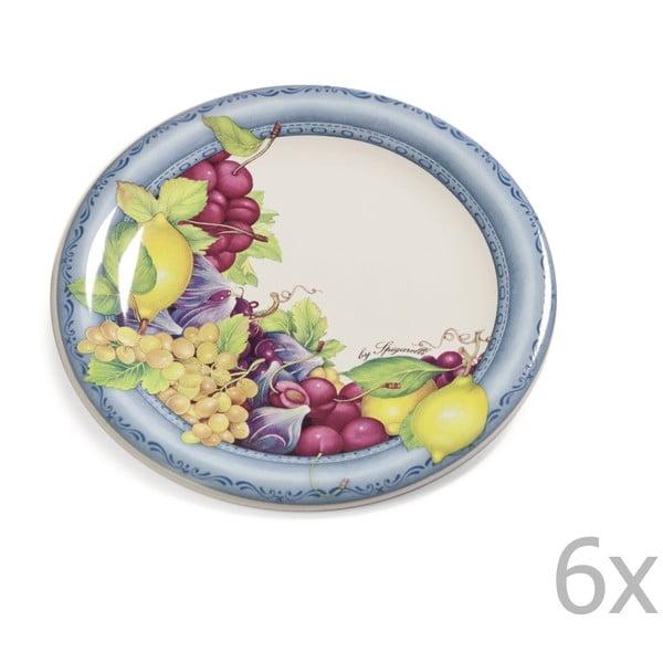 Zestaw 6 talerzyków Blue Garden, 20 cm