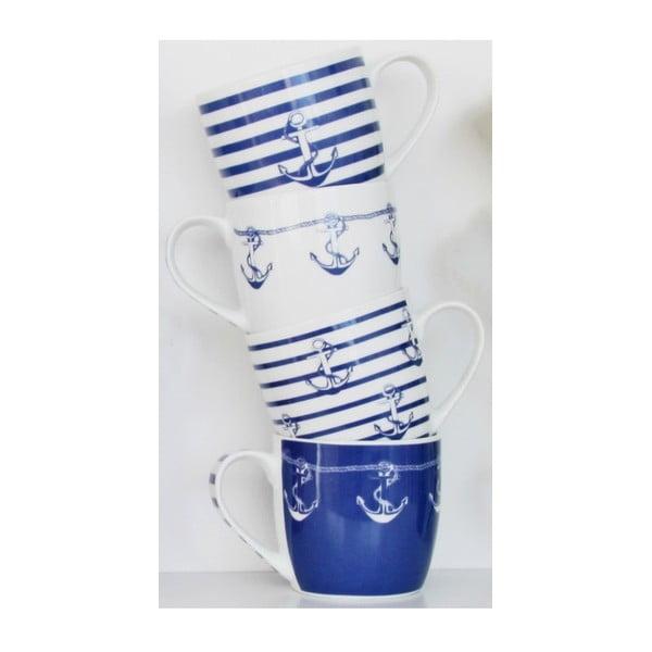 Komplet 4 porcelanowych kubków Ahoy