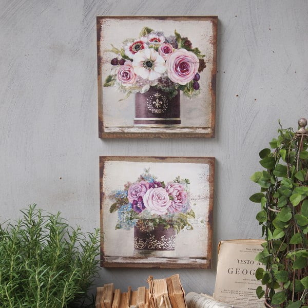 Zestaw 2 obrazów Pink Roses, 30x30 cm