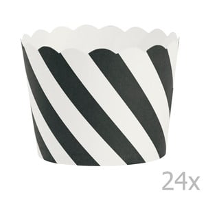 Zestaw 24 papilotek na muffiny Miss Étoile Black Diagonal