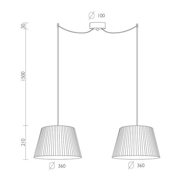 Czarna lampa wisząca Bulb Attack Dos Plisado, ⌀ 36 cm