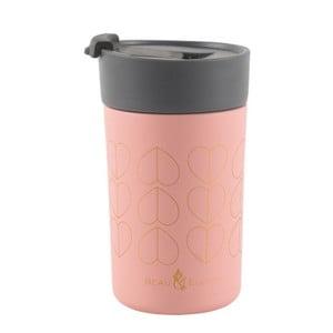 Różowy kubek termiczny Navigate Hearts, 300 ml