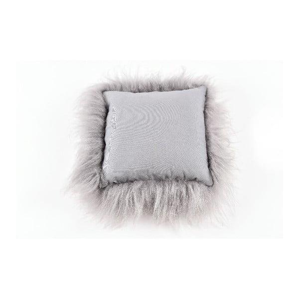 Szara poduszka futrzana z długim włosiem, 35x35 cm