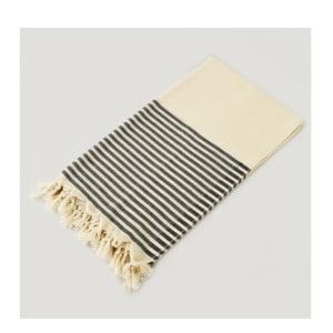Biały ręcznik z czarnymi pasami hammam Marine Style Black, 100x180 cm