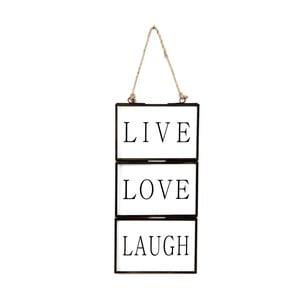 Szklana tabliczka z napisem Live, Love, Laugh