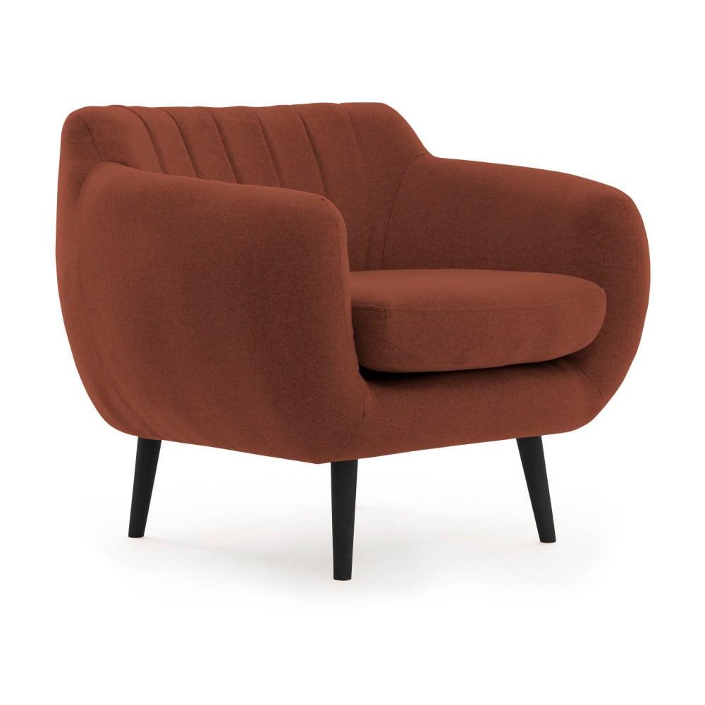 Ciemnoczerwony fotel z czarnymi nogami VIVONITA Kennet