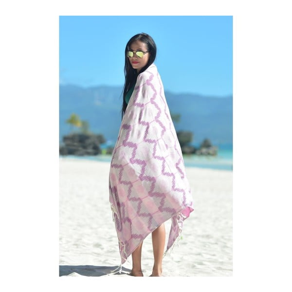 Ręcznik hammam Ripple Purple, 95x180 cm