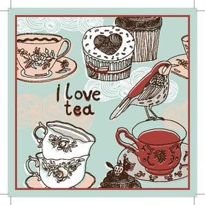 Zestaw 2 mat stołowych I Love Tea, 20x20 cm