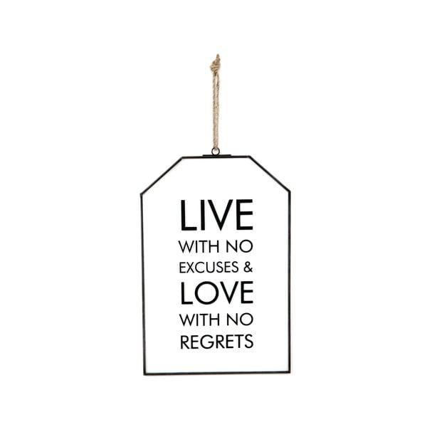 Szklana tabliczka z napisem No Excuses, 22x33 cm