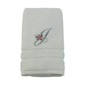 Ręcznik z inicjałem i różyczką J, 50x90 cm
