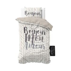 Pościel z mikroperkalu Sleeptime Bonjour Amour, 140x220 cm