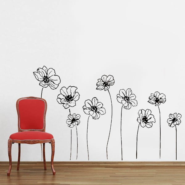 Naklejka ścienna 9 kwiatów, 60x90 cm