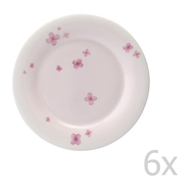 Zestaw 6 talerzy z porcelany angielskiej Petal, 21 cm
