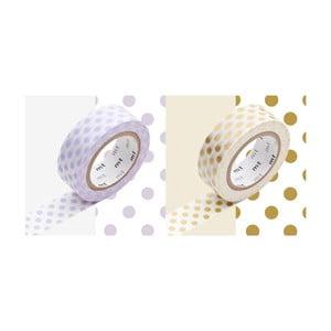 Zestaw 2 taśm dekoracyjnych washi Dot Usufuji Gold