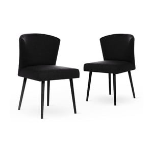 Zestaw 2 czarnych krzeseł z czarnymi nogami My Pop Design Richter