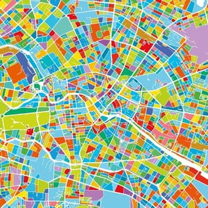 Obraz Homemania Maps Berlin, 60x60 cm