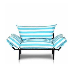 Turkusowa-biała sofa w paski Kate Louise Quinny