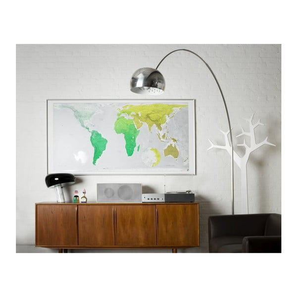 Magnetyczna mapa świata Huge Future Map, 196x100 cm, zielona