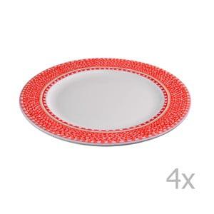 Zestaw 4 czerwonych talerzy porcelanowych Oilily, 27 cm