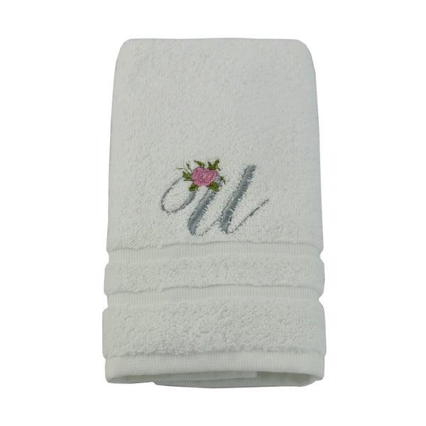 Ręcznik z inicjałem i różyczką U, 50x90 cm
