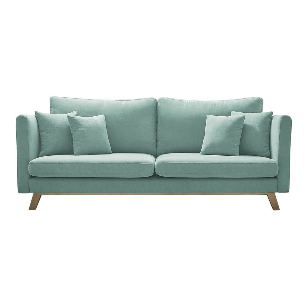 Jasnozielona rozkładana sofa Bobochic Paris Triplo